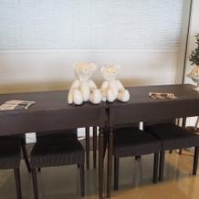 受付テーブル(壁の飾りつけも自由)