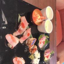 神戸牛のお寿司がとても美味しかった。
