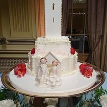大学モチーフのケーキ。
