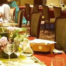 淀川邸羽衣の間、長テーブル2列です
