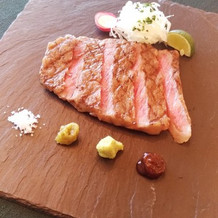 洋・肉・国産牛ロースのお刺身ステーキ