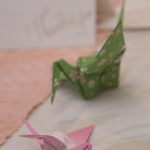 高砂の鶴達。100均の折り紙です。