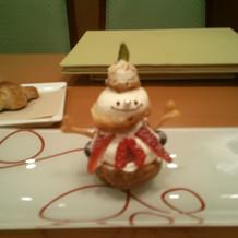 雪だるまの形のスイーツ