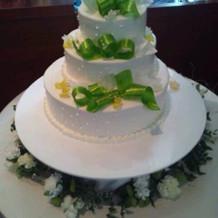 お気に入りのケーキ。飴細工が好評でした。