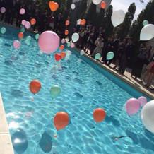 プールでした風船が綺麗で盛り上がりました
