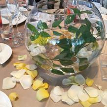 各テーブルの装花