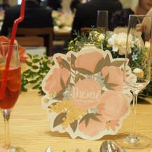 式当日のテーブル