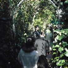径を抜けると、ガーデンが広がり、会場です