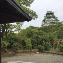 茶室から見える大阪城