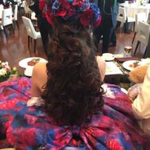 「ヘアアクセ」ドレスに合わせて作った!