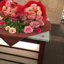 贈呈用のお花はハート型に飾ってあった!