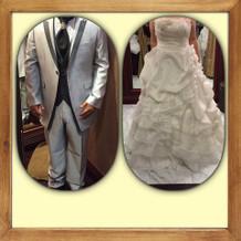 当日のタキシードと白ドレス