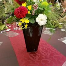 会場装花も和風イメージで素敵でした!