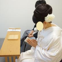 玉串を奉る儀式の練習です。