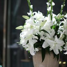 式場内部のお花
