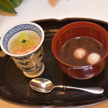 杏仁豆腐のゼリー添え、お汁粉