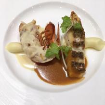真鯛のポアレとオマールエビのグリル