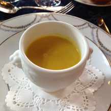 かぼちゃと小豆の冷製スープ
