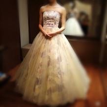 柄物の珍しいカラードレスもありました