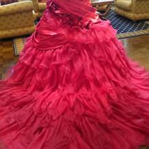 試着したカラードレス2背面