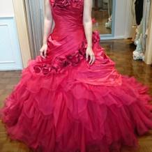 試着したカラードレス2正面