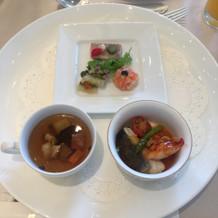 前菜、スープ、お魚料理