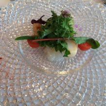 帆立貝と白身魚カルパッチョ