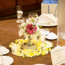 本番時のゲストテーブル装花
