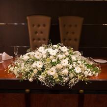 本番時のメインテーブル装花
