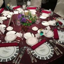 模擬披露宴のテーブル