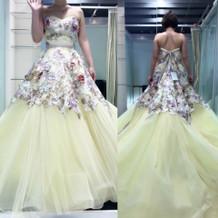 花柄黄色カラードレス