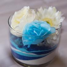 カラーサンド&造花&貝殻