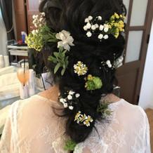 髪に花も咲いて大変気に入ってました。