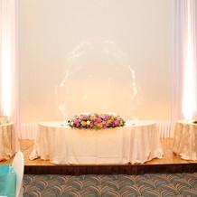 メインテーブルとお花
