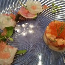 真鯛のカルパッチョとサーモン
