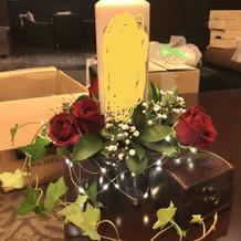 ゲスト卓の装花試作品