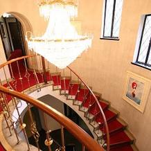 入口の螺旋階段
