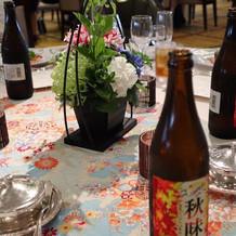 秋味ビール。テーブル映え良く嬉しかった