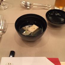 試食会にて初期お料理(御椀)