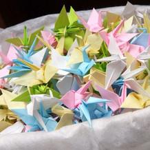 頑張って折った折り鶴シャワー用の折り鶴