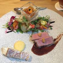 前菜、魚料理、肉料理