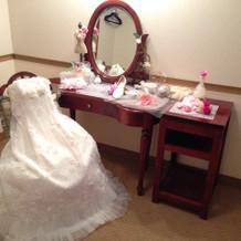 新婦の衣装部屋です。可愛い雰囲気です。