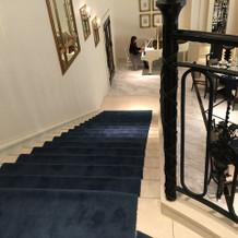 披露宴会場入場口から下の階へ続く階段