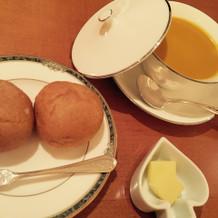 胚芽パンとかぼちゃのスープ!