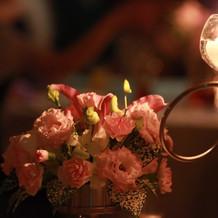 卓上の花とキャンドル