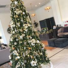 入口の大きなクリスマスツリー