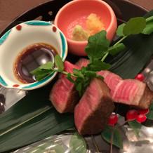 国産黒毛和牛のお肉が美味しかった。
