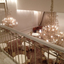 階段を下りて披露宴会場に行く