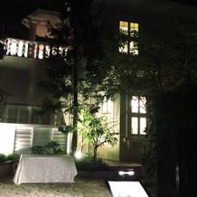 お庭の緑がライトアップされてきれい