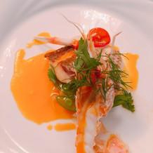 お魚料理。 オマール海老。